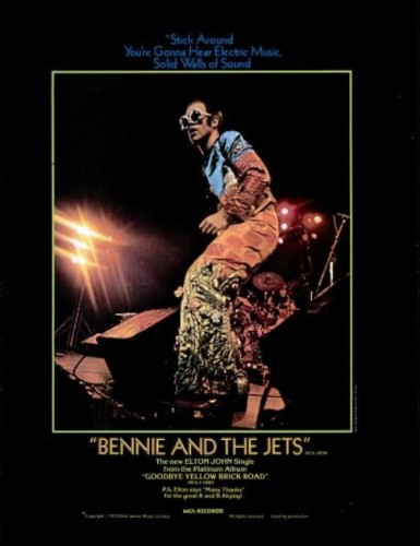 Elton John, 'Bennie And The Jets' ('Billboard' magazine, February 16, 1974). Click to enlarge.