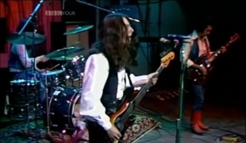 Burke Shelley and Budgie on 'The Old Grey Whistle Test ,' 1975.