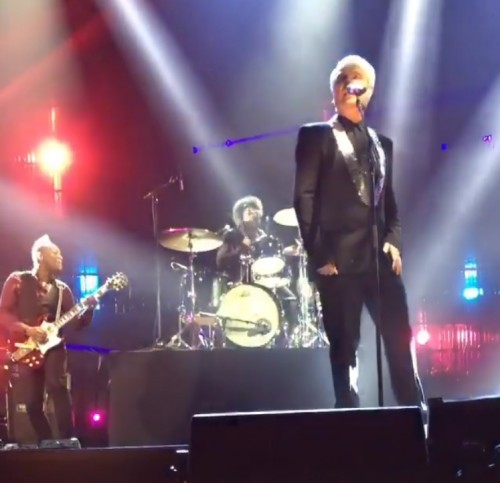 David Byrne & The Roots perform Bowie's 'Fame' at Rock Hall of Fame 2016 Show. Image from Daxx Nielsen's Instagram video.