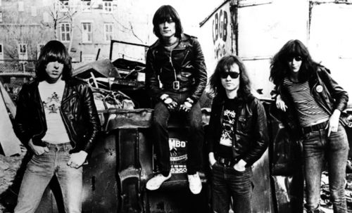 Ramones in alley behind CBGB, 1977. Image by Danny Fields.