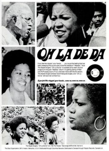 The Staple Singers, 'Oh La De Da' ('Billboard' magazine, March 17, 1973). Click to enlarge.