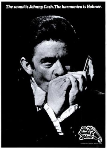 Johnny Cash For Hohner Harmonicas ('Billboard' magazine, May 23, 1970). Click to enlarge.