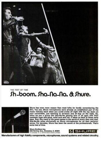 Sha Na Na For Shure Microphones ('Billboard' magazine, February 08, 1975). Click to enlarge.