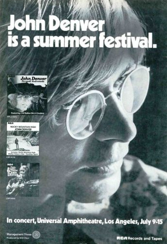 John Denver Summer Festival ('Cashbox' magazine, July 14, 1973). Click to enlarge.