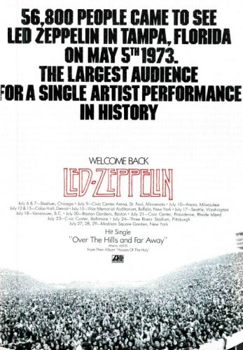 Led Zeppelin, 'Over The Hills And Far Away' ('Cashbox' magazine, July 07, 1973). Click to enlarge.