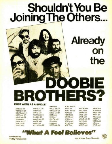 Doobie Brothers, 'What A Fool Believes' ('R&R' magazine, January 19, 1979). Click to enlarge.