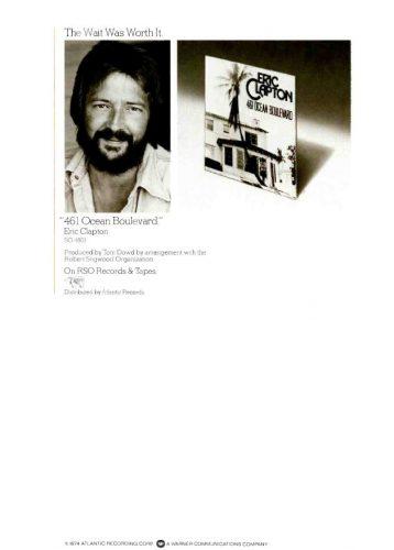 Eric Clapton, '461 Ocean Boulevard' ('Cashbox' magazine, July 13, 1974). Click to enlarge.