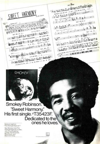 Smokey Robinson, 'Sweet Harmony' ('Cashbox' magazine, July 14, 1973). Click to enlarge.