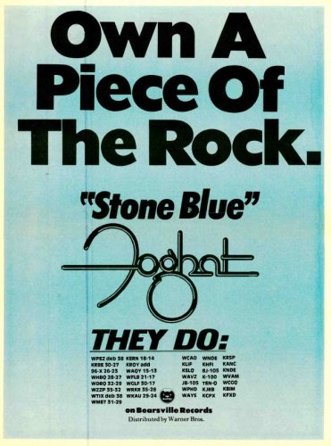 Foghat, 'Stone Blue' ('Radio & Records' magazine, June 23, 1978). Click to enlarge.