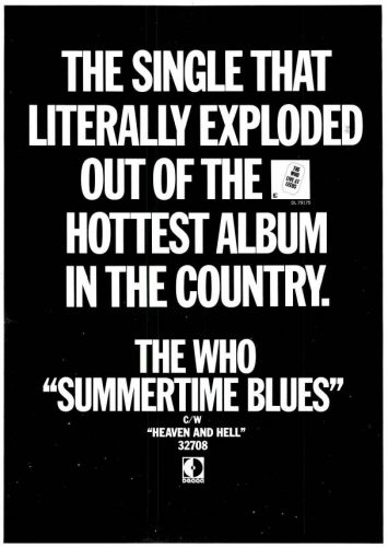 The Who, 'Summertime Blues' ('Billboard' magazine, July 11, 1970). Click to enlarge.