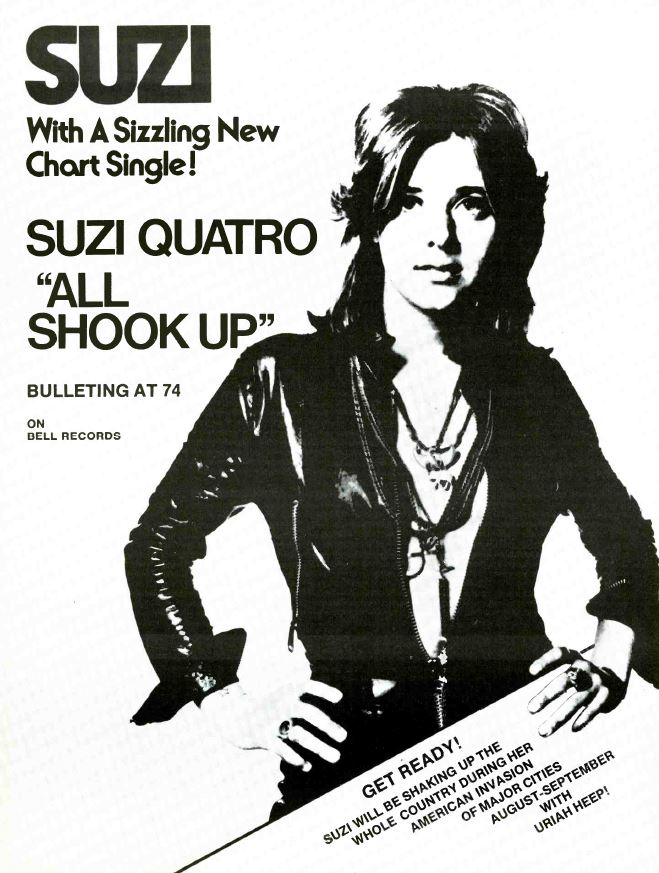 vintage ads look listen suzi quatro all shook up 1974